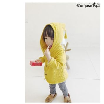 Baby Coat Girls Boys Autumn Clothing New Style Spring Summer Cotton Linen Outwear With Hat Fashion Children Jacket Kids Clothes