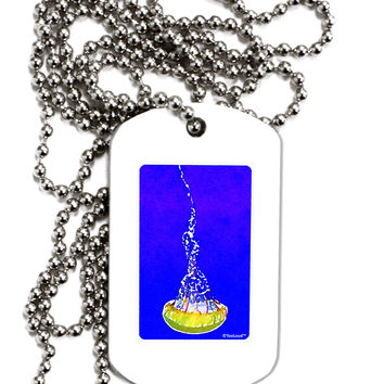 Solo Jellyfish Watercolor Adult Dog Tag Chain Necklace