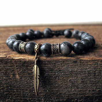 Feather bracelet, rustic fashion, boyfriend jewelry, gift ideas for him, boho men, celtic man, native american, cool gemstone