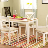 White 5 Piece Crossback Dining Set Wood Kitchen Furniture Table And Chair Set