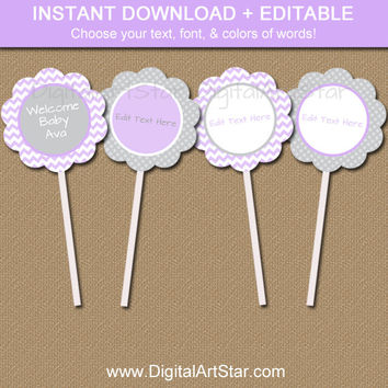 Girl Baby Shower Cupcake Toppers - Printable Baby Shower Party Decor EDITABLE Lavender Chevron Cupcake Decorations - Cupcake Picks Download