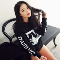 Fashion Ladies Women Casual Long Sleeve Print Loose Hoodie Sweat Sports Tops