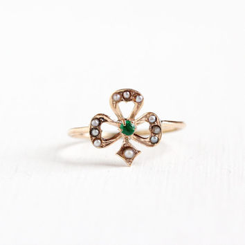 Antique 10k Yellow Gold Shamrock Ring - Edwardian Seed Pearl Emerald Three Leaf Clover Lucky Fine Floral Flower Stick Pin Conversion Jewelry