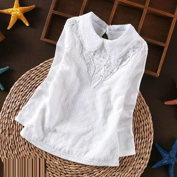 Baby Toddler Teen School Girls White Blouse Lace Shirts Tops Autumn Winter Kids Shirt Cotton Long Sleeve T-shirt 6 8 10 12 Years
