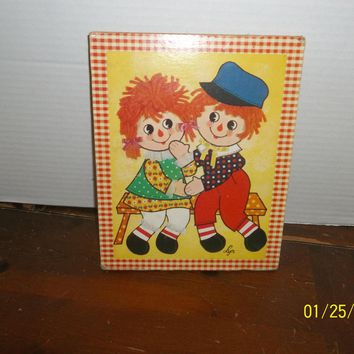 vintage soroka sales raggedy ann and andy press board wall hanging picture