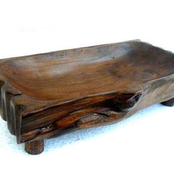 "Natural Teak Wood Bowl Rustic Driftwood Reclaimed Handmade wooden Bowl Home Art Decor / Zen Art / Gift 6""X4.25""X2.75"""