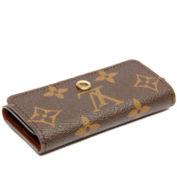 LV Louis Vuitton Stylish  Trending Women Men Monogram Print Canvas Button Key Pouch G