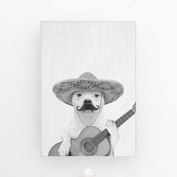 Dog print dog wall art spanish guitar sombrero mustache art dog hipster dog poster spanish style wall art funny dog gicle nursery room