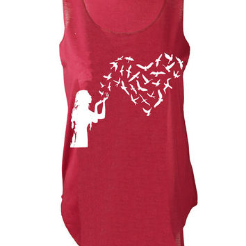 Banksy girl with heart birds print urban Tank top vest womens ladies tshirt