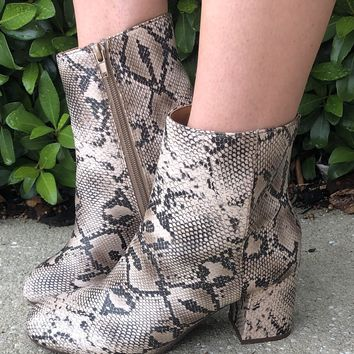 Night Out Booties- Snakeskin