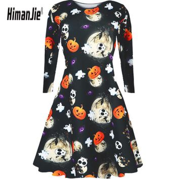 Ladies Womens Halloween Costume Swing Skater Pumpkin Skeleton Element Round Neck Long Sleeve Dress Smock  Dress