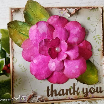 Thank you Handmade Card, Thank you Greeting card, Pink, Flower, Floral Handmade card, Watercolor