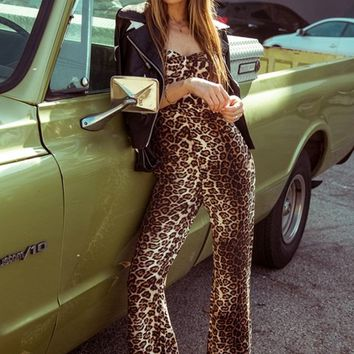 Timing Is Everything Leopard Print Animal Pattern Sleeveless Spaghetti Strap Bustier Wide Leg Loose Jumpsuit