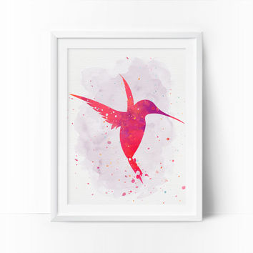 Hummingbird Art, Watercolor Bird, Nursery Bird, Pink Hummingbird, Printable Art, Rose, Coral Prints, Girls Room Decor, Baby Girl Nursery