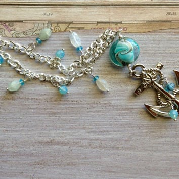 Nautical Big Anchor Necklace Aquamarine Gemstones Murano Glass Lamp work Focal Bead Silver Chain Boating Jewelry Festival Jewelry