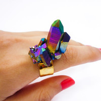 Titanium Quartz Crystal Druzy Ring SPIKE Stud Rainbow Cluster by AstralEYE