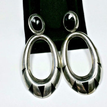 Vintage Big Dangle Black Onyx Inlay Sterling Silver Earrings Signed TM-216 Mexico 925 Geometric Shape Inlay Cool Look! Earrings with Posts