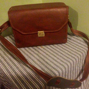 Leather Cognac Minolta Camera Bag with Gold Clasps
