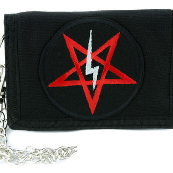 Satanic Symbol Lightning Bolt Pentagram Tri-fold Wallet w/ Chain Occult Clothing