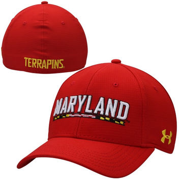 Maryland Terrapins Under Armour 2014 Sideline Huddle Stretch Fit Flex Hat – Red