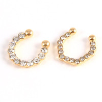 Rhinestone Fashion Nose Septum Ring (set of 2) - Gold or Silver