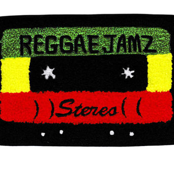 XL Extra Large Vintage Style Chenille Reggae Jamz Rasta Mixtape Cassette Mix Tape DJ Patch Badge (15cm)