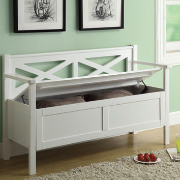 "Bench - 50""L - White Solid Wood With Storage"