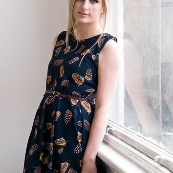 feather print circle dress indie heritage