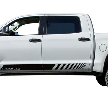 Custom Text Door stripe Kit Decals Vinyl Stickers Bedside Set: fit Toyota Tundra