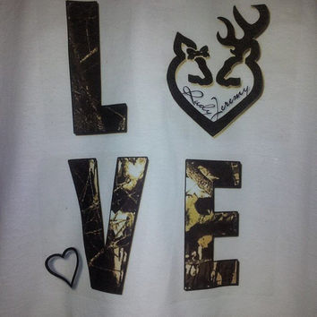 Couples Shirt!!!  Buck and Doe Love! Camoflauge letters!