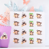 Monkey Stickers, Monkey Decor, Monkey Planner Stickers