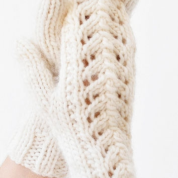 Womens Mittens Knitted Lace Off White Wool