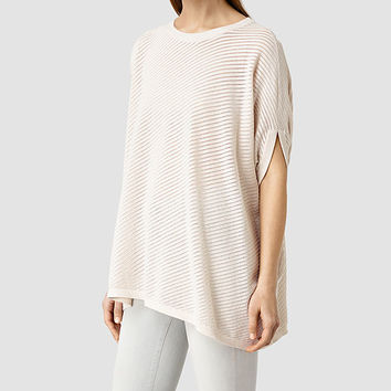 ALLSAINTS US: Womens Grid Knitted Tee (ALMOND PINK MARL)