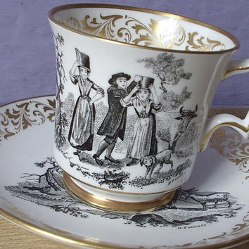 Antique English tea cup and saucer set vintage by ShoponSherman