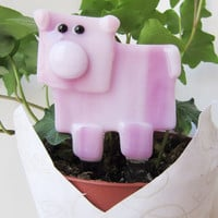 Pink Pig Plant Stake, Pig Lover Gift, Potted Plant Decor, Fused Glass Pig, Whimsical Pig Figurine, Gift for Any Occasion, Pig Collector Gift