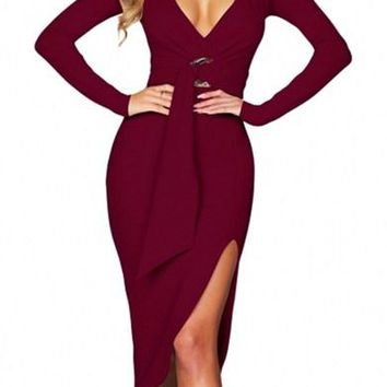Chic Burgundy Faux Wrap V Neck Long Sleeve Midi Dress