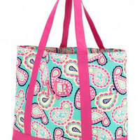 Mint Paisley Tote Bag - Tote - Bag - Purse - Monogrammed - Personalized