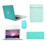 "TopCase® New Macbook Pro 15"" 15-inch A1398 with Retina Display 5 in 1 Bundle - ROBIN EGG BLUE Crystal Hard Case Cover + Matching Color Soft Sleeve Bag +Wireless Mouse + Silicone Keyboard Cover + LCD HD Clear Screen Protector (LATEST VERSION / No DVD Drive"
