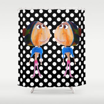 Twins dot girls Shower Curtain by Azima