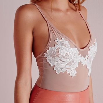 Missguided - Mesh Rose Applique Bodysuit Nude
