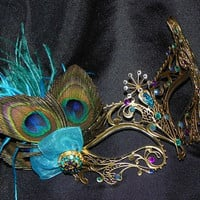 Peacock Metal Masquerade Mask with Turquoise Accents