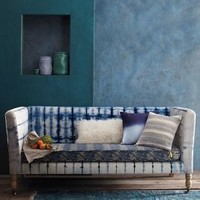 Hand-Dyed Shibori Sofa by Anthropologie Blue Motif One Size Furniture