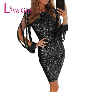 LIVA GIRL Silver Sexy Sequined Bodycon Midi Dress Women Glitter Chic Hollow Out Long Sleeve Party Night Club Dresses Vestidos