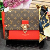 LV Louis vuitton selling casual women's coffee printed patchwork coloured slant shoulder bag