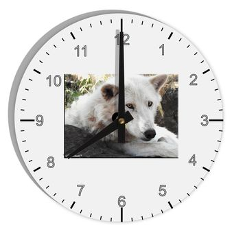 "Laying White Wolf 8"" Round Wall Clock with Numbers"