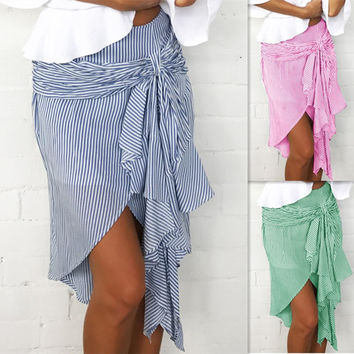 Irregular Stripes Butterfly Women's Fashion Skirt [10597783111]