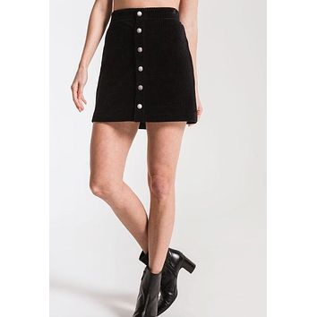 Z Supply - The Wide Wale Black Corduroy Mini Skirt