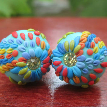 Colorful Ear studs Earrings for Her with vivid bright colors Polymer Clay  Embroidery Flowers by Lena Handmade Jewelry