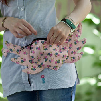 Heart with Wings Bag / Purse Hip Bag Floral Boho Hipster by Marewo