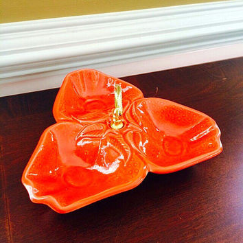 California Pottery Relish Tray, Orange Party Serving Tray, Vintage Kitchen Divided Dish, Felix Vintage Market